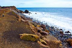 Coastline of the Pacific Ocean on the California Beach - stock photo