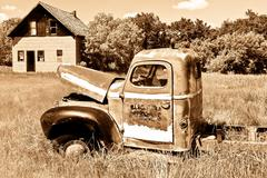 Old Red Farm Truck - stock photo