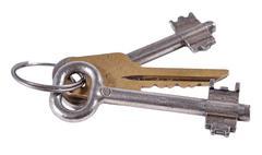 Old keys on a white - stock photo