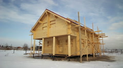 Lumber House On Pile Foundations Stock Footage