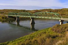 Gabriel Bridge on South Saskatchewan River - stock photo