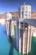 Hoover Dam and Water Intake Towers - stock photo
