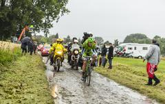 The Cyclist Alessandro De Marchi on a Cobbled Road - Tour de France 2014 - stock photo