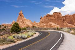 Arches National Park Road - stock photo