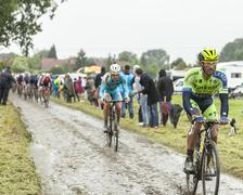 The Cyclist Daniele Bennati on a Cobbled Road - Tour de France 2014 - stock photo