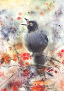 Bird sitting on a mountain ash tree - stock illustration