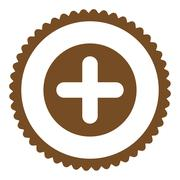 Create flat brown color round stamp icon - stock illustration