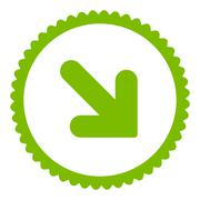 Arrow Down Right flat eco green color round stamp icon - stock illustration