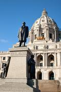 Knute Nelson Statue in front of the Minnesota State Capitol Buil - stock photo