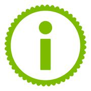 Stock Illustration of Info flat eco green color round stamp icon