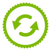 Refresh Ccw flat eco green color round stamp icon Stock Illustration