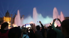 view at colorful vocal fountain Montjuic - stock footage