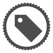 Stock Illustration of Tag flat gray color round stamp icon