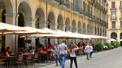 Restaurant at old part of  Girona. Catalonia, Spain Stock Footage