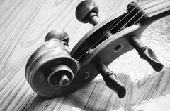 Violin on wood background black and white color tone style Stock Photos