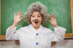 Student dressed up as einstein Stock Photos