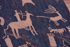 Petroglyphs at Newspaper Rock, Indian Creek, Utah Stock Photos