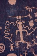 Native American Petroglyphs, Newspaper Rock, Utah Stock Photos
