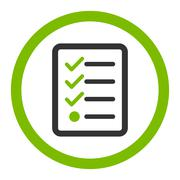Stock Illustration of Checklist flat eco green and gray colors rounded glyph icon