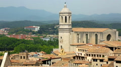 Top  view of old european city. Girona,  Catalonia Stock Footage