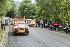 Cochonou Caravan in Vosges Mountains - Tour de France 2014 - stock photo