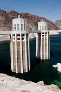 Hoover Dam Intake Tower on the Arizona Side of the Border - stock photo