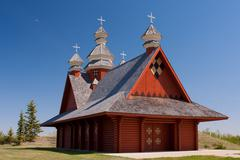 Countryside Log Church - stock photo