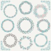 Stock Illustration of Colorful Hand Sketched Rustic Frames, Borders, Corners