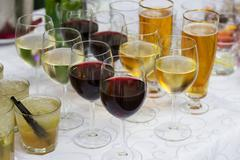 Welcome Drinks ,Catering table set services before party. - stock photo