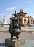 Urn at Gandan Khiid Monastery in Ulaanbaatar, Mongolia - stock photo