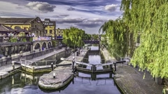 Time lapse of the double lock in Camden Town Stock Footage