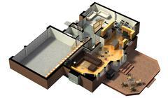 3D Furnished House Interior - stock illustration