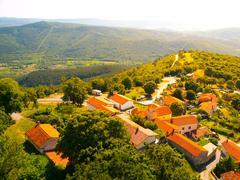 Beautiful mediterranean village in sunny day Stock Photos