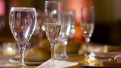 Banquet Table Champagne Stock Footage