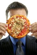 businessman and junk fast food, pizza - stock photo