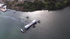 Aerial View of USS Arizona at Pearl Harbor Stock Footage