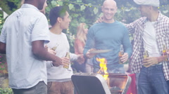 4K Happy group of male friends having fun at outdoor bbq. Stock Footage