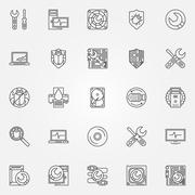 Computer service icons - stock illustration