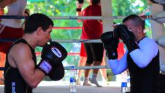 Guys Boxing Training Drills Combat Sport Muay Thai Gym Slow Motion Stock Footage