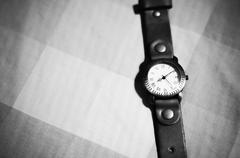 classic Wristwatch black and white color tone style - stock photo