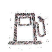 group people  shape  gas station - stock illustration