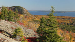 The Beehive and Sand Beach, Autumn, Acadia National Park (pan) Stock Footage