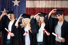 Composite image of group of teenagers celebrating after graduation Stock Photos