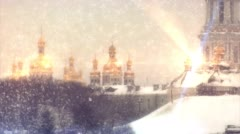 Gold Doms of The Lavra in The Sun Rays, Kiev-Pechersk Lavra in Snow in Winter, Stock Footage