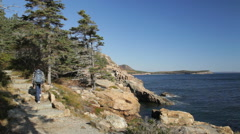 Hiking Ocean Path, Acadia National Park Stock Footage