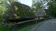 Thatched roof houses at Astra National Museum, Sibiu Stock Footage