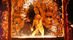 Stock Video Footage of mimes and clowns - on fire show