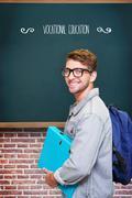 Vocational education against teal, blue Stock Photos