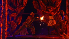 Mimes and clowns - on fire show Stock Footage