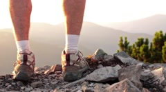 Close Up Of Hiker Feet standing On Rocky Mountain Stock Footage